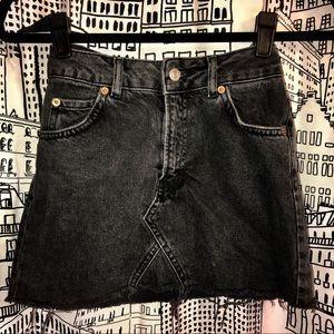 Topshop Black Moto Raw Hem Denim Skirt